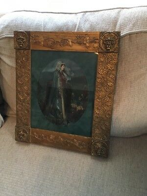 Stunning Art Deco Hand Painted Water Color Stunning Gargoyle Antique Frame