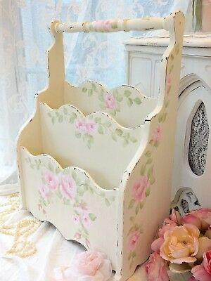 OH! ROMANTIC ROSE MAG RACK daSommers hp hand painted chic shabby vintage cottage