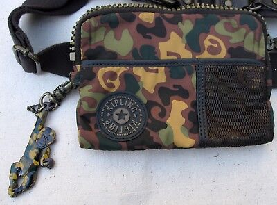 Kipling FERGIE Camouflage Fanny Pack Hip Bag with Monkey Key Chain