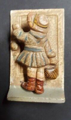 Vintage Antique Cast Iron Hand Painted Door Knocker Little Girl with Basket 1921