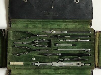 Vintage Antique Drafting Tool Set C F Pease Company Chicago Made In Germany