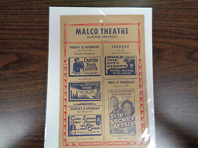 Malco Theatre Vintage Movie Ad Mcghee Arkansas Canyon River/while The City Sleep