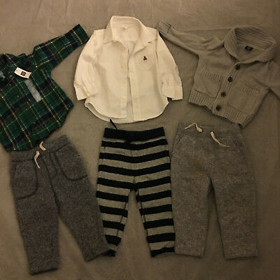 Baby Gap Toddler Boys bundle size 18-24 months , 3 pants 2 shirts, 1 cardigan