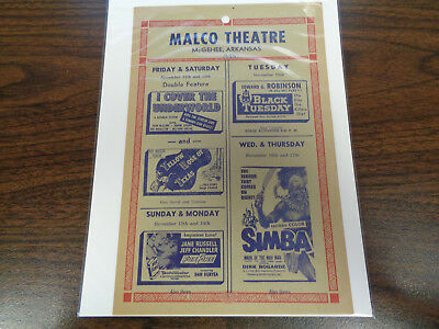 Malco Theatre Vintage Movie Ad Mcghee Arkansas I Cover The Underworld Simba