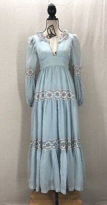Vintage Gunne Sax Gauze and Lace Baby Blue Plunging Neckline Dress Size 7/Small