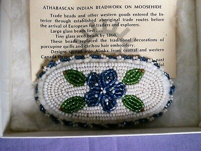 Vtg Native American Athabascan Indian Beaded Barrette Hair Clip Alaska Moosehide