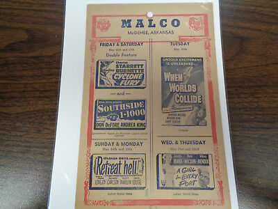 Malco Theatre Vintage Movie Ad Mcghee Arkansas Cyclone Fury Southside 1-1000