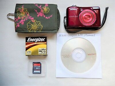 Nikon COOLPIX L30 20.1MP Digital Camera - Working normally -64GB SD included