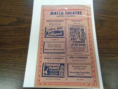 Malco Theatre Vintage Movie Ad Mcghee Arkansas Stampede/walk The Dark Streets