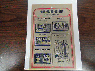 Malco Theatre Vintage Movie Ad Mcghee Arkansas Canyon Ambush/the Jazz Singer