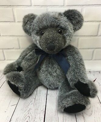 """RUSS Bertie Bear YARWOOD Retired VINTAGE COLLECTION 13"""" Jointed Gray Grey Bear"""