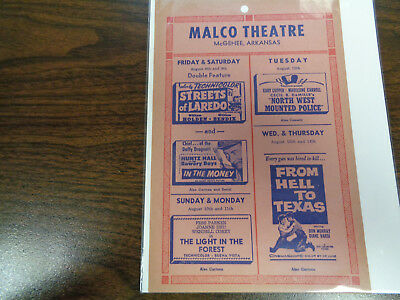 Malco Theatre Vintage Movie Ad Mcghee Arkansas Streets Of Laredo/ In The Money
