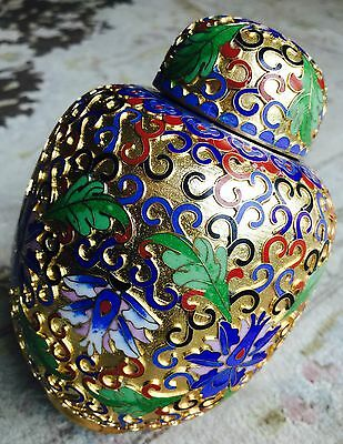 "Fantastic Antique 24ct Gold Gilded & Handcrafted Japanese Cloisonné 6""/15cm Jar"