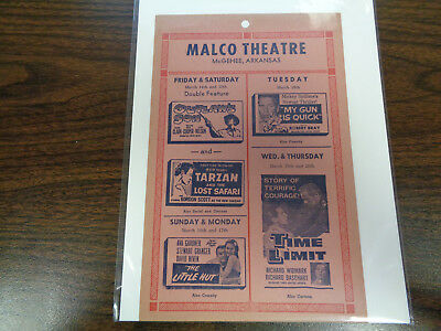 Malco Theatre Vintage Movie Ad Mcghee Arkansas Outlaw's Son/ Tarzan