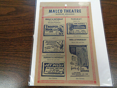 Malco Theatre Vintage Movie Ad Mcghee Arkansas Jet Pilot John Wayne