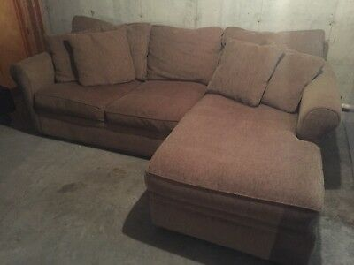 CRATE & BARREL Mocha 2pc. Sectional Sofa w/Chaise Lounge - $600.00 ...