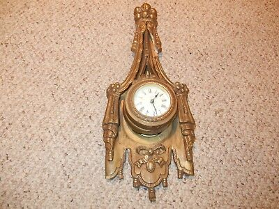 Antique Ansonia Decorative Plaster Windup Wall Clock For Parts or Repairs