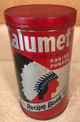 "14 oz. CALUMET BAKING POWDER Tin ~ 5.25"" x 2.75"" ~ No rust, nice and clean"