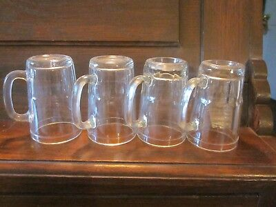 """4 pc vintage clear jelly glass jar glassses with handles 4"""" H"""