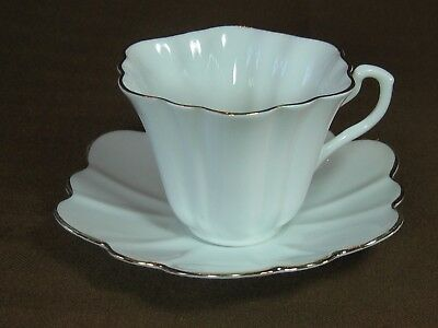 Rosina Bone China Fluted Cup and Saucer Elegant White with Gold Trim