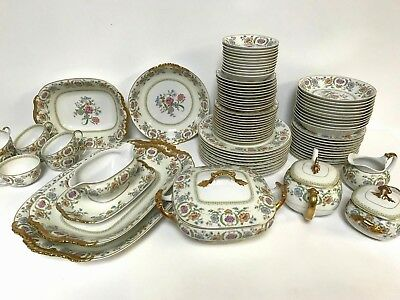 83 Piece Vignaud's Limoges Hand Colored Flower Design Service for 10 Porcelain
