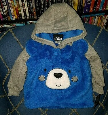 NWT Boys Rock Pullover Fleece Hooded Top, Soft, Warm, 6-9 month Bear