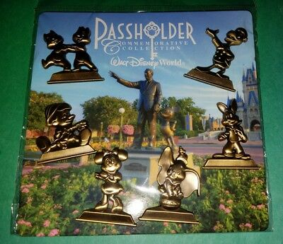 Disney Pin Annual Passholder Gold Statues 6 pin set Booster Pack Authentic
