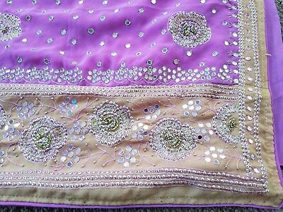 Beautiful light pink with hot beige border embroidery Indian Sari with Blouse