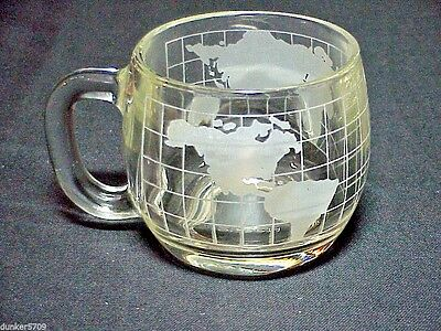 One Etched World Glass Coffee Cup Nescafe Advertising 3 Inches High  #2