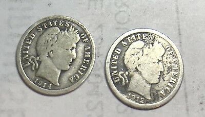 2 of  Barber Dimes (1914 D & 1912 P)- free shipping