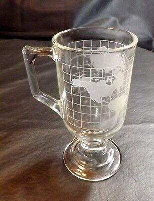 One Etched World Glass Coffee Footed Mug Cup Nescafe Advertising 5 1/2 In High