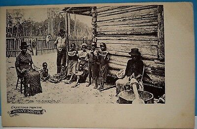 "Vtg.blk. Americana Post Card - Turn Of The Century  ""greetings From Sunny South"""