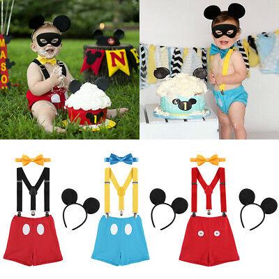 4PCS Mickey Mouse Baby Boy 1st Birthday Cake Smash Photo Prop Costume Outfits