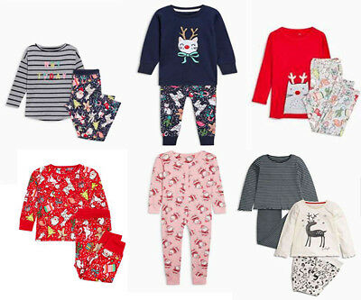 NEXT Pyjamas Christmas Xmas Pjs Girls All In One Cat Santa Reindeer BNWT Gift