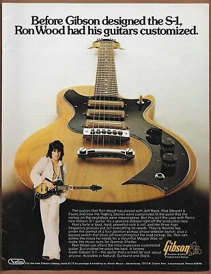 Gibson S-1 Ron Wood Rolling Stones Guitar Single Page Magazine Print Ad 1977