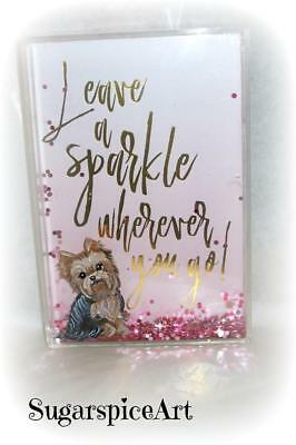 Yorkie Hand Painted Valentine Acrylic Sparkles Plaque Decor by SugarspiceArt