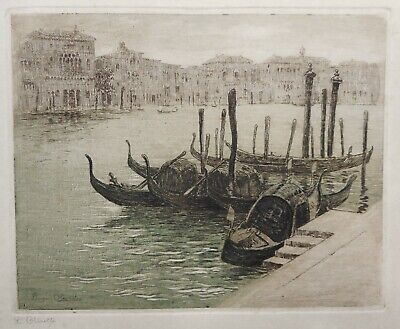 "Antique Italian Coloured Etching By Luigi Olivetti ""Venice"" Signed"