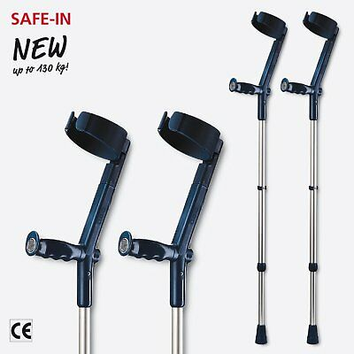Rebotec Safe In Soft Forearm Canadian Crutches (Pair), Colour: Black