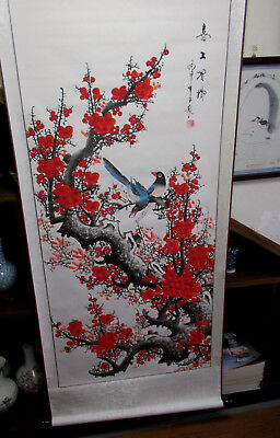 Chinese scroll painting - magpies on the plum blossom treetop喜上眉梢