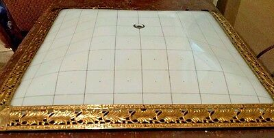 Square brass frosted Mid Century Shade Ceiling Glass Gold vtg replacement light