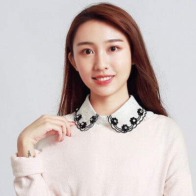 Women Girls Fake False Chiffon Collar Detachable Lapel Shirt Choker Necklace