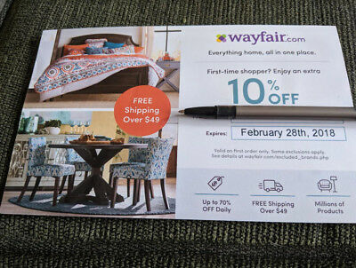 Wayfair Coupon 10% Off Entire Order Exp 2/28/18 First Order
