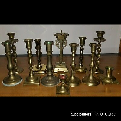 Lot of 12 Vintage Brass Candlestick Candle Holders -Wedding Craft Decor