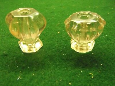 Two Vintage Different Designs Clear Glass Drawer Pulls Without Hardware