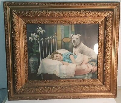 Antique Very Ornate Frame Floral Victorian.girl Slepping With Dog Print Vintage