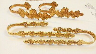 Two sets of brass curtain tie backs tiebacks from india