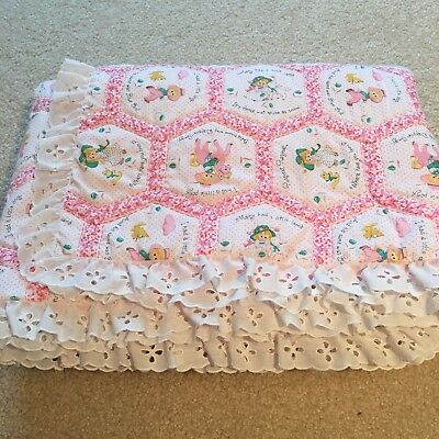 Vintage Baby Blanket Quilt Handmade Hand Quilted Sewn Pink Nursery Rhymes Lace