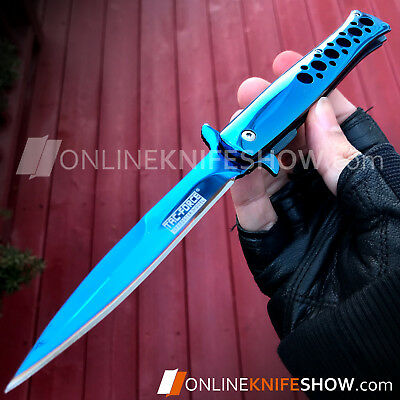 """9"""" TAC FORCE BLUE SPRING ASSISTED STILETTO KNIFE Blade Pocket Tactical Open NEW"""