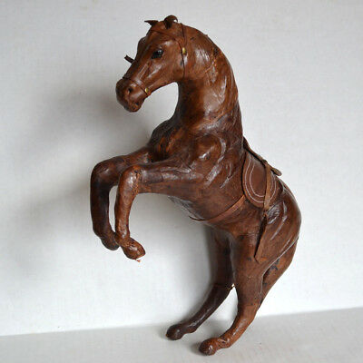 Vintage Brown LEATHER WRAPPED Rearing HORSE Figure Equestrian Statue GLASS EYES