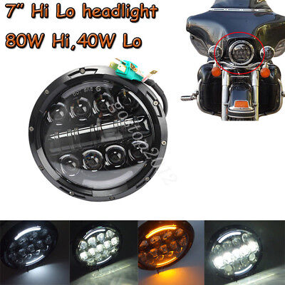 "7"" 80W LED Motorcycle Turn Signal Daymaker HID Lamp Bulb Headlight For Harley"